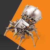 11cm Height Medium Spider Mecha Sound Robot Metal DIY Assembly Sound Robot Toy with Sound Creative Present Gift for Men