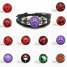 Fashion Anime Rinnegan Eyes Bracelet Naruto Sharingan Eye Black Leather Uchiha Uzumaki Clan Logo Cosplay Lover Gift