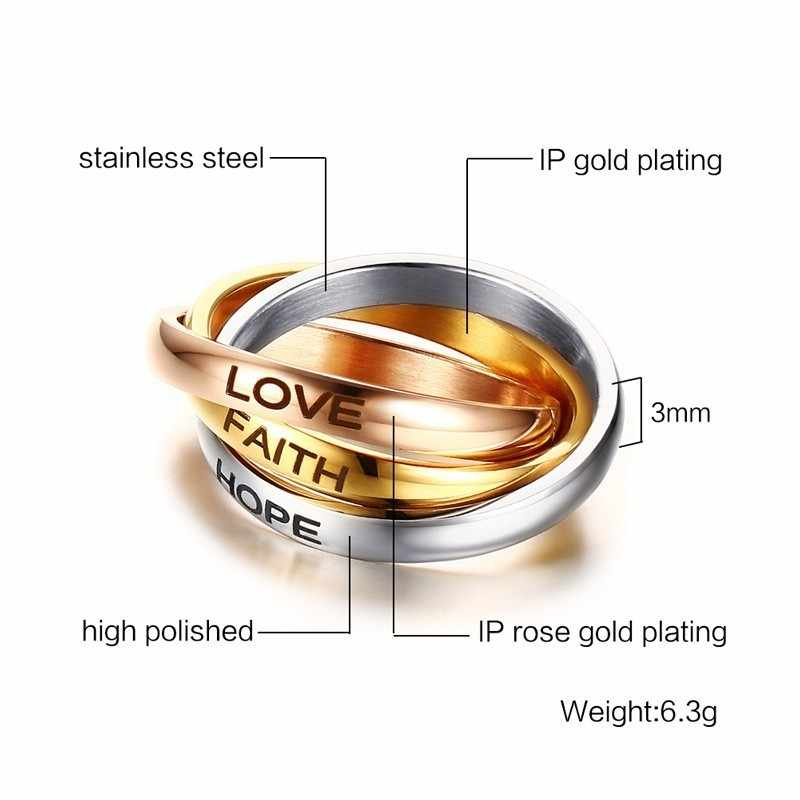 Love Faith Hope Triple Interlocked หมั้นแหวนสแตนเลสสาม - in - one สัญญาสำหรับเธอวันวาเลนไทน์