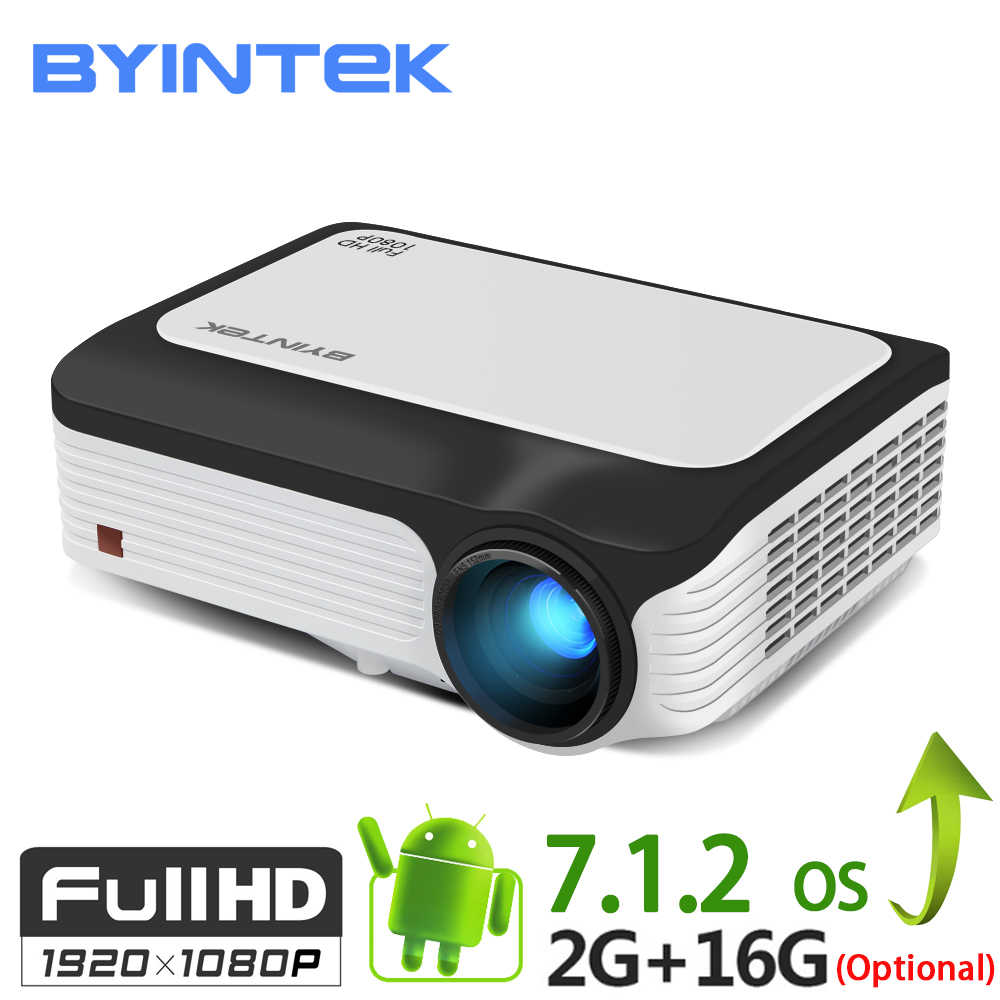 BYINTEK M1080 inteligentny Android 7.1 (2GB + 16 GB) Wifi FULL HD 1080 P 1920x1080 przenośny mini projektor wideo led do Netflix
