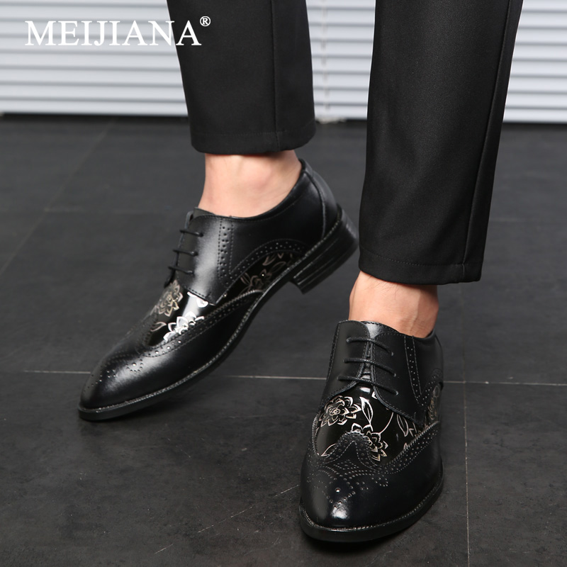 Shoes Oxfords Men Bullock pointed Push Shoes shoes 2019 Color Lace Up Business Business Flats casual