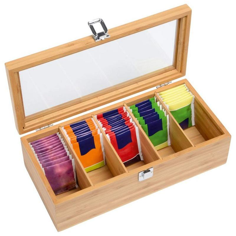Simple Bamboo System Tea Bag Jewelry Organizer Storage Box 5 Compartments Tea Box Organizer Wood Sugar Packet Container