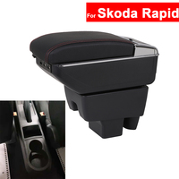 For Skoda Rapid Armrest Car Center Centre Console Storage Central Box Armrest Arm Rest Rotatable Auto Armrests with USB