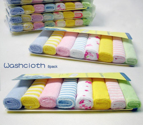 Soft Cotton Infant Newborn Bath Kids Baby Towel Washcloth Feeding Wipe Cloth 8pcs