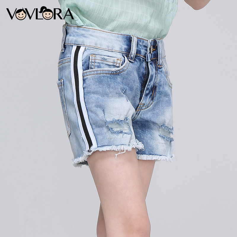 Denim Shorts Girls Side Stripe Ripped Hole Summer Shorts Kids Packet Burr Solid Clothes Casual 2018 Size 9 10 11 12 13 14 Years trendy ripped fringe lace spliced denim shorts