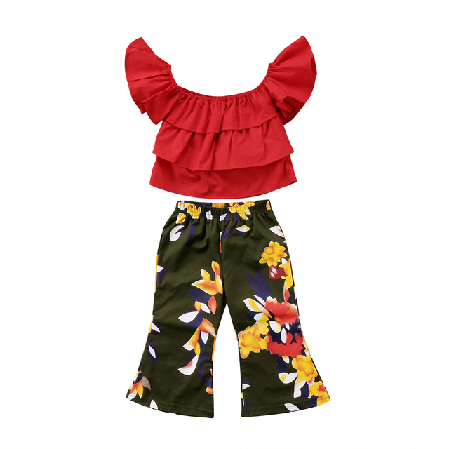 802e029ad2456 US $5.79 16% OFF|Pretty Toddler Kids Girls Off Shoulder Tops Floral Pants  Outfits Clothes Set-in Clothing Sets from Mother & Kids on Aliexpress.com |  ...