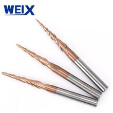 WEIX 1 шт. 4 мм конические сферическим концом Вольфрам прочные, покрытые карбоном конус фрезерные деревообрабатывающие станки гравировка бит