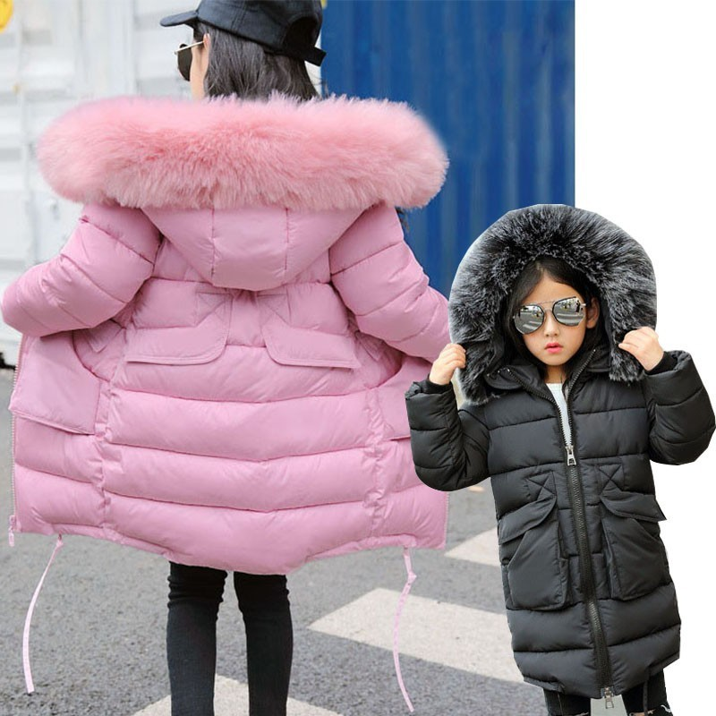 8133025133b9 Long Winter Coat For Girls Fur Hooded Black Pink Blue Cotton Padded Girl  Jacket Kids Coats Warm Teenage Children Outerwear 2018