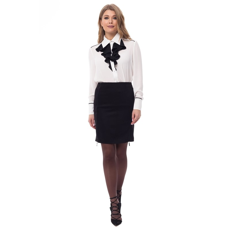 Pencil skirt with decorative zippers. rib knit pencil skirt