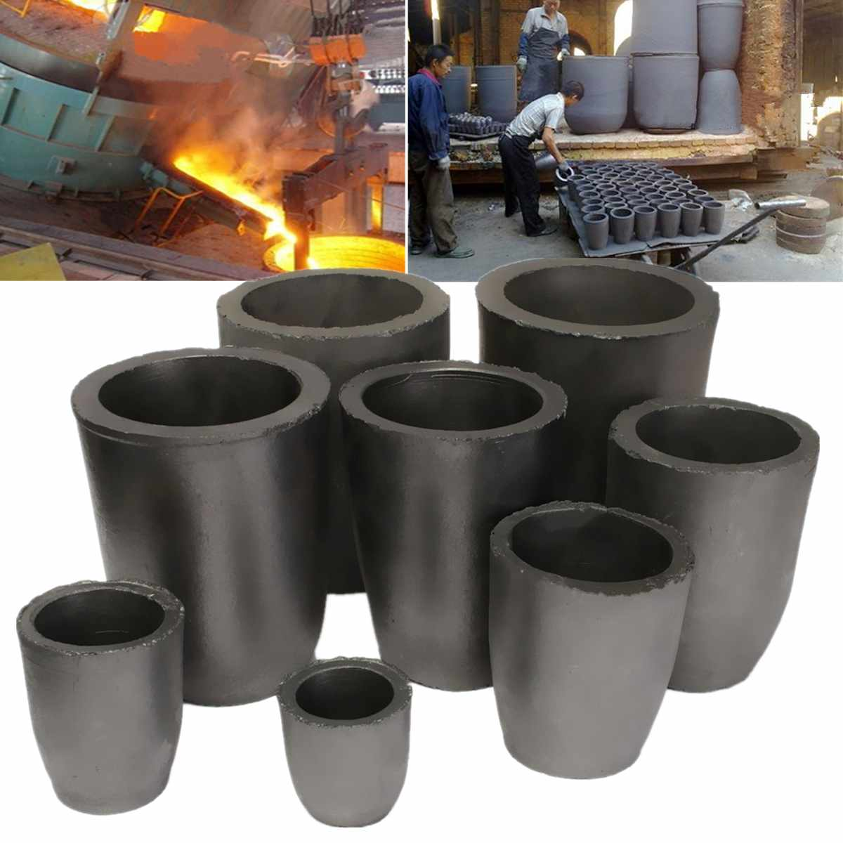 New Graphite Crucible Furnace Casting Foundry Crucible Melting Tool 1/2/4/6/8/10/12/16Kg
