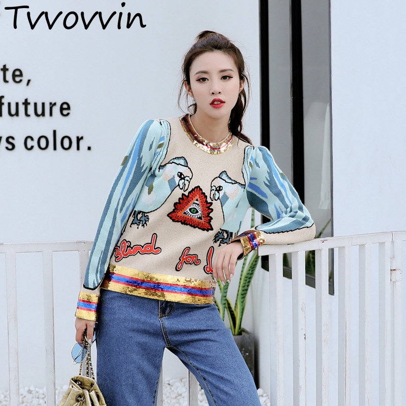 TVVOVVIN 2019 Autumn Winter New Embroidery Sequins Knitting Sweaters women s jackets female pullovers jumpers A587