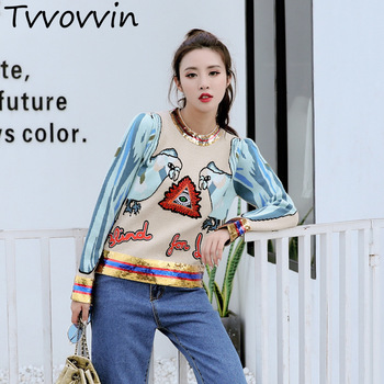 TVVOVVIN 2019 Autumn Winter New  Embroidery Sequins Knitting Sweaters women's jackets female pullovers jumpers A587