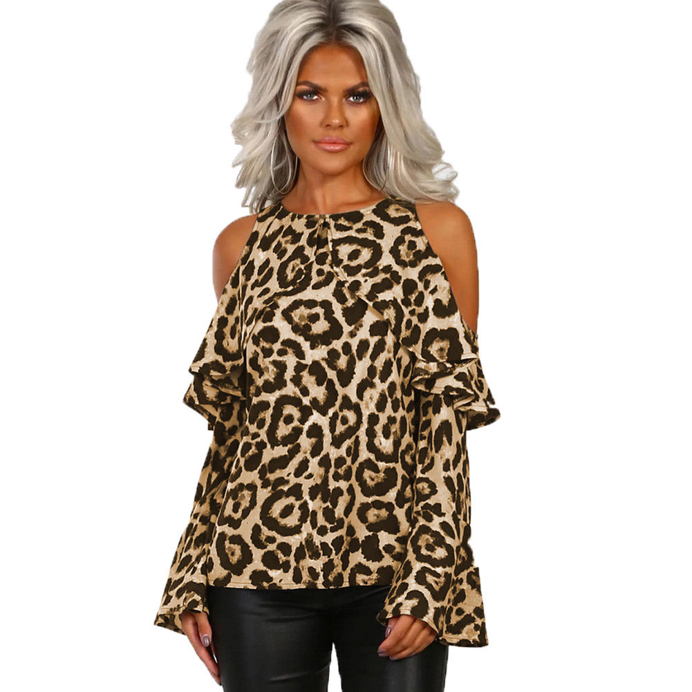 Women Cold Shoulder O-Neck T-Shirt Leopard Print Cut Out Long Sleeve Tops T-shirt Fashion Women Girl Tees