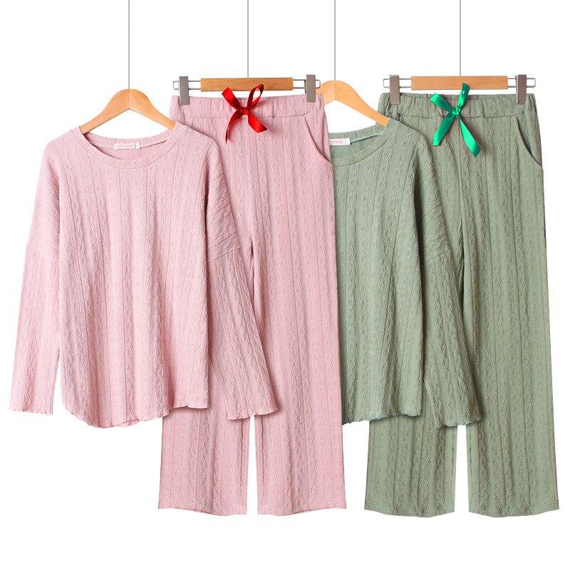 2019 100% Cotton   Pajamas   for Women Long Sleeve Pyjamas Round Neck Pijama Mujer Solid   Pajama     Set   Loose Korean Twist 2-piece   Set