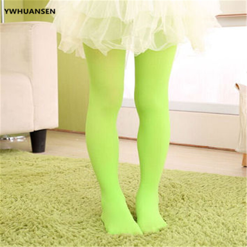 YWHUANSEN Summer Spring Candy Color Kids Pantyhose Ballet Dance Tights for Girls Stocking Children Velvet Solid White Pantyhose 5