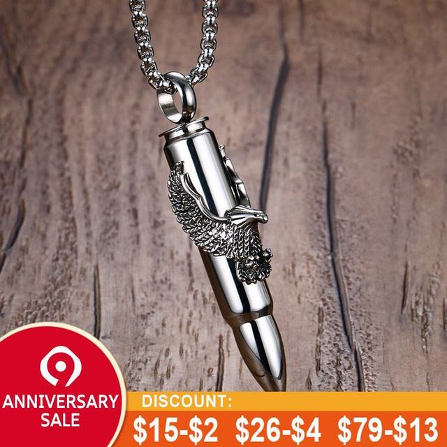 Vnox Punk Eagle/ Scorpion On Bullet Pendant For Men Necklace Stainless  Steel Tough Man Jewelry