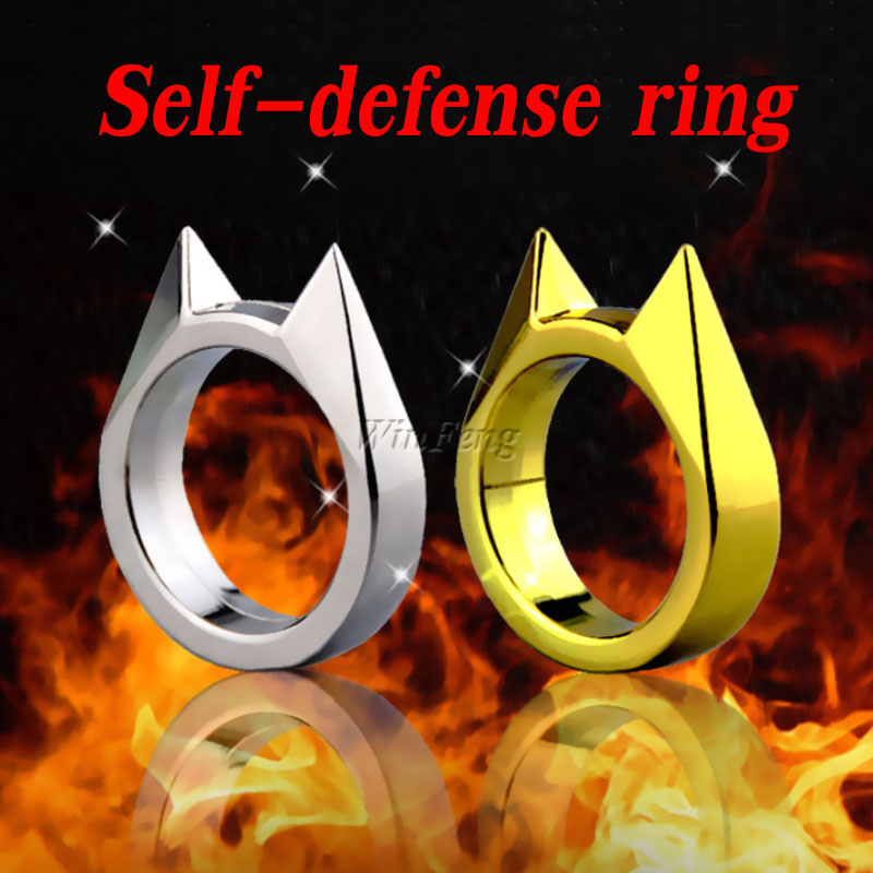 Trendy Cat Ear Self Defence Finger Ring Pendant Keychain Multifunction Outdoor Survival Tool  EDC Tactical Self Defense Supplies