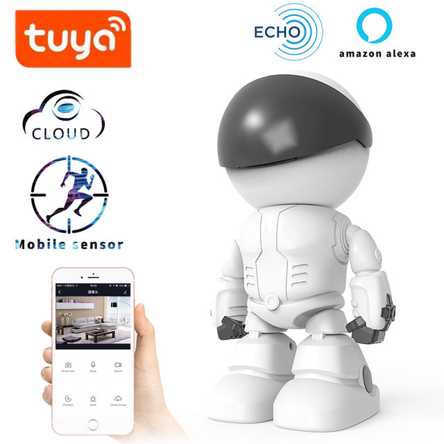 US $47 5 |Aliexpress com : Buy TUYA alexa echo Baby Monitor wifi 2 way  audio Robot Camera 1080P HD Network IP Night Vision Motion Detection SMART