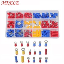 цена на 295Pcs/box 18 Types Insulated Terminals Electrical Crimp Connector Spade Ring Fork Assortment Kit With Box