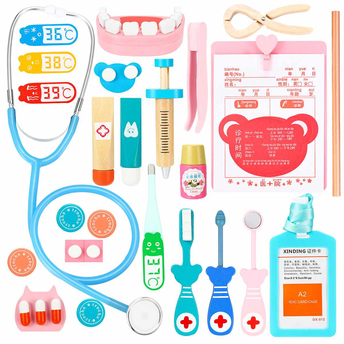 Children Kids Wooden Pretend Play Toys Doctor Toys Dentist Nurse Medical Games Kits Set Vocation Learning Education Toys Unisex