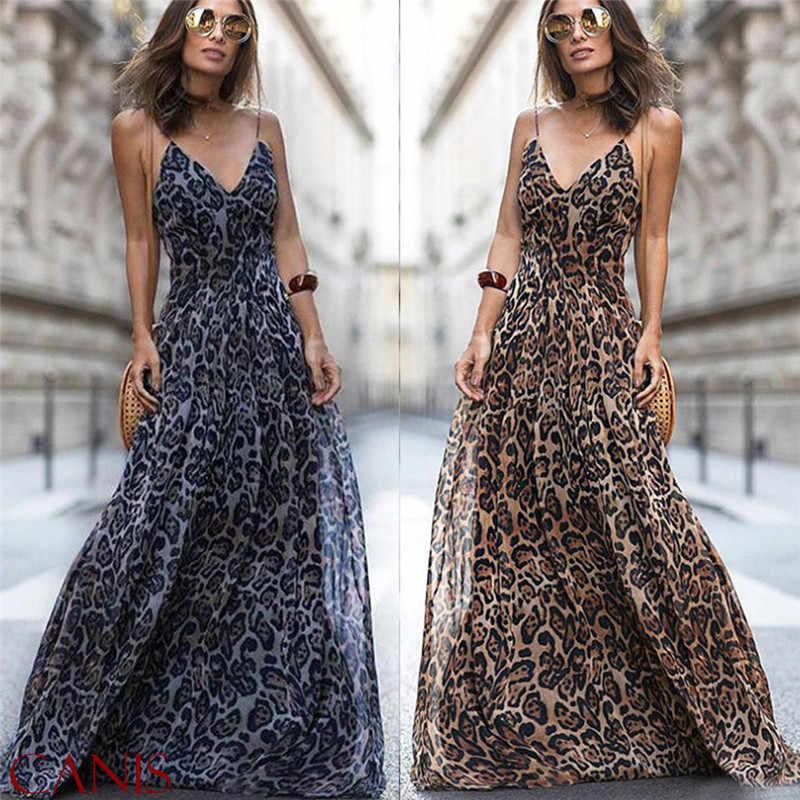 2019 Fashion Sexy Dress Leopard V Neck Spaghetti Strap Maxi dresses Women  Summer Chiffon Beach Long fda3dafe3
