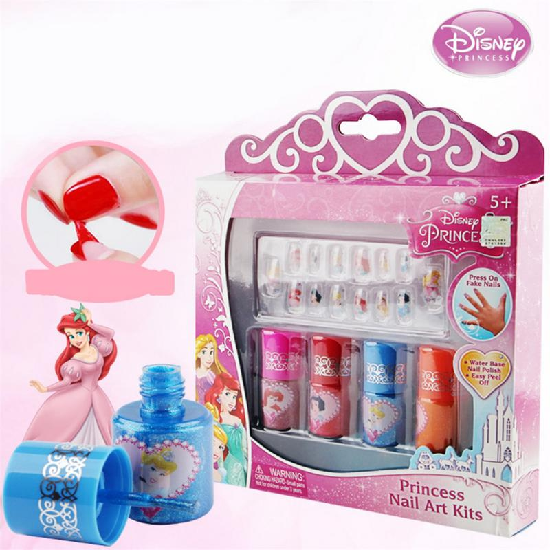 US $13 66 38% OFF|Children's Nail Polish Disney Princess Set Color Nail Art  Paste Water Soluble Peelable Color Fast Play Manicure Toy Nail Tips-in