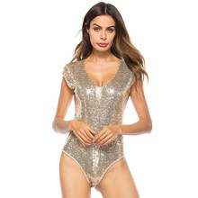 Sexy Women Sequin Playsuits Short Sleeve Bodycon  Club Ladies V-Neck Shorts Jumpsuit