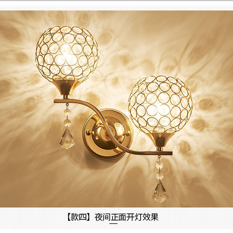 Simple Gold Double Crystal Wall Lamp Aisle Lights Bedroom Bed Lighting Modern Led Living Room Background Wall Lamps led modern aisle wall sconces living room wall lights nordic restaurant lighting bedroom fixture novelty stairs wall lamps