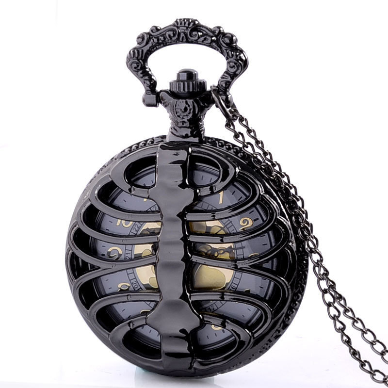Full Hunter Quartz Engraved Fob Retro Pendant Pocket Watch Chain Gift