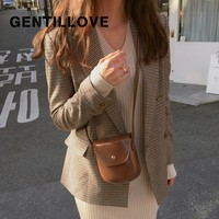 Gentillove Vintage Jacket Office Ladies Plaid Double Breasted Blazer Long Sleeve Loose Houndstooth Suit Coat Women Blazers 2019