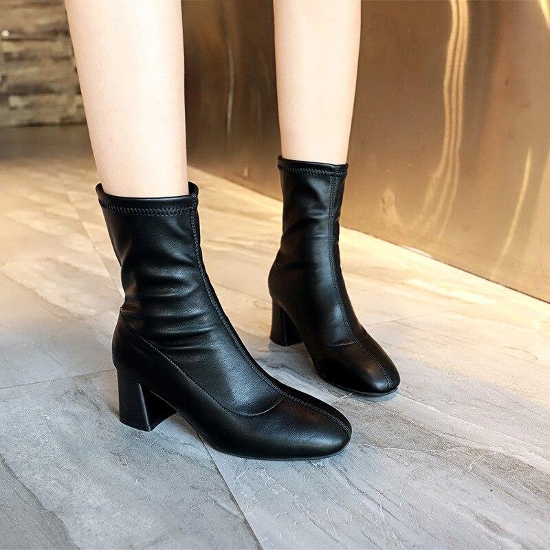 e7d09e0d0 Outono 2 Cinto Inverno Maré Nova Alta sapatos Botas 2019 Europeu Estilo  Alto Fivela Mulher 1 Salto Britânico ...