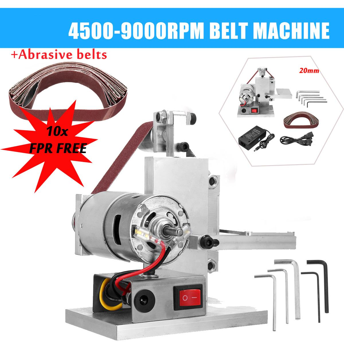 110 240V 10/20mm Mini Electric Belt Sander Polishing Grinding Machine Knife Edges Sharpener Woodworking Metal Grinder Polishing Grinders     - title=