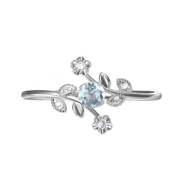 Solid 14k White Gold Natural Diamonds Engagement Wedding Ring Flower Leaf Women Ring Fine Jewelry  Trendy 1