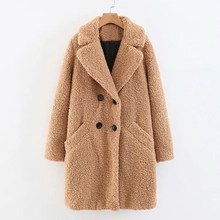 2018 New Solid Double Breasted Long Woolen Coat Women Autumn Winter Plush Overcoat Button Pockets Warm Outerwear button through solid outerwear