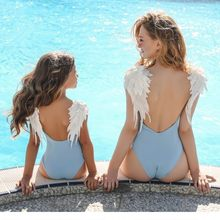 Mommy And Me Matching Swimwear One-piece Sexy Bodysuit Embroidery Wing Bikini 2019 Swimsuit Women Children Beach Bathing Suits(China)