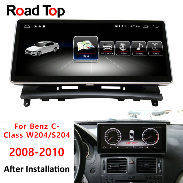 """Android 7 display for Mercedes Benz C Class W204 2008 to 2010 10.25"""" touch screen GPS Navigation stereo radio multimedia player"""
