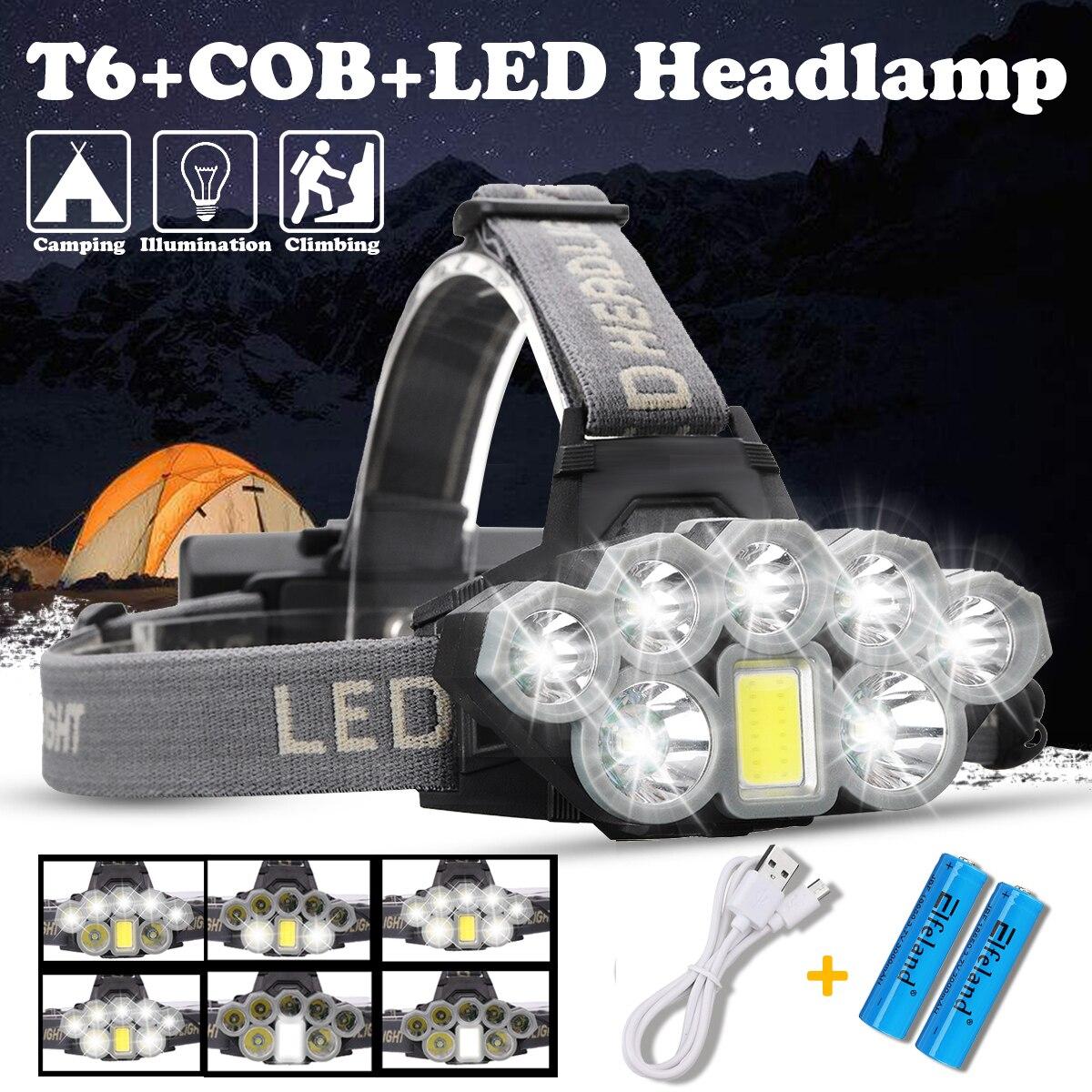 USB Aufladbare Scheinwerfer 80000lm Scheinwerfer 2 * T6 + 5 * Q5 + 1 * COB LED Kopf Lampe Taschenlampe taschenlampe Kopf Licht Laterne 18650 Batterie