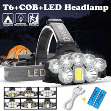 USB Oplaadbare Koplamp 80000lm Koplamp 2 * T6 + 5 * Q5 + 1 * COB LED Head Lamp Zaklamp toortskop Licht Lantaarn 18650 Batterij(China)
