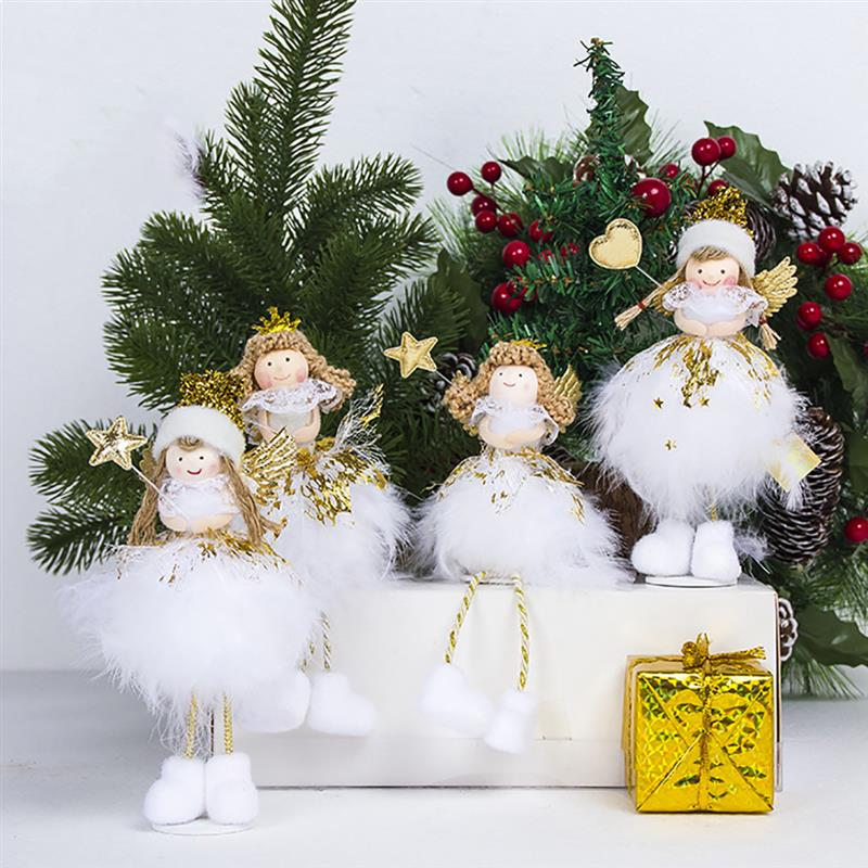 Christmas Ornament Cute Angel Doll Shape Desktop Ornament Xmas Desk Decoration