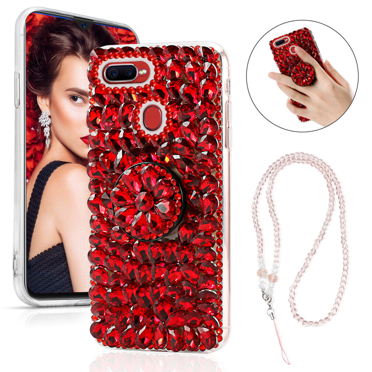US $4.99 35% OFF|For OPPO F9 Phone Case 3D Handmade Bright Shining Crystal Rhinestone Bling Diamond Phone Cover with Pop phone holder-in Fitted Cases from Cellphones & Telecommunications on Aliexpress.com | Alibaba Group