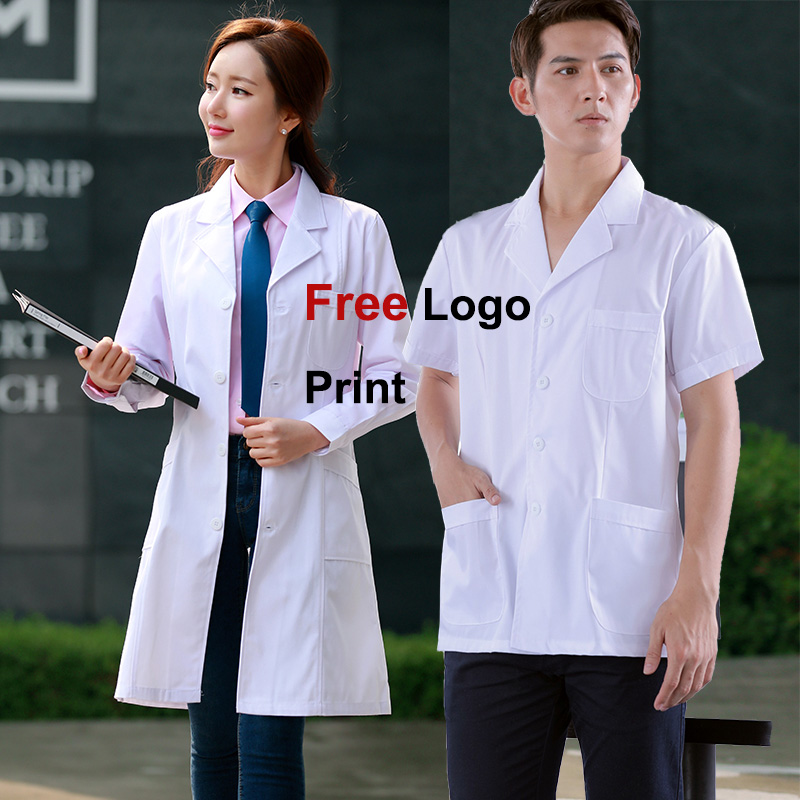 Free Logo Print Medical Uniforms Doctor White Coats Scrubs Medical Uniforms Women Nurse Work Wear Women Or Men Protect Lab Gown