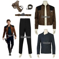 Han Solo Costume Movie Solo A Star Wars Story Cosplay Carnival Halloween Only Shirt Jacket Pants Strap Belt Adult Accessories