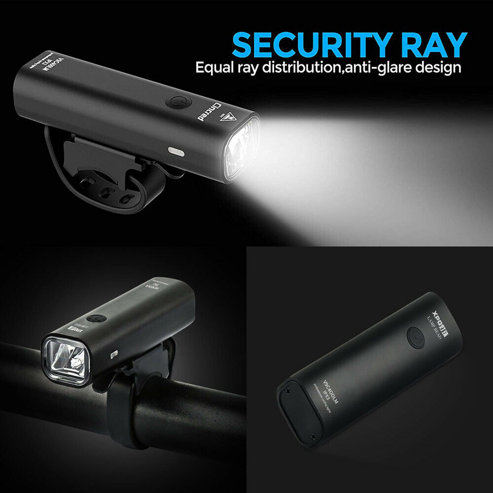 USB Rechargeable Bike Light Set Runtime 8+ Hours 400 Lumen Super Bright Headlight Front Lights And Free Back Rear LED 4 Mode