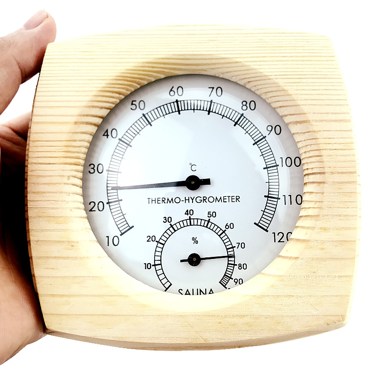 Sauna Room Wood Thermometer Hygrometer Hygrothermograph Temperature Instrument