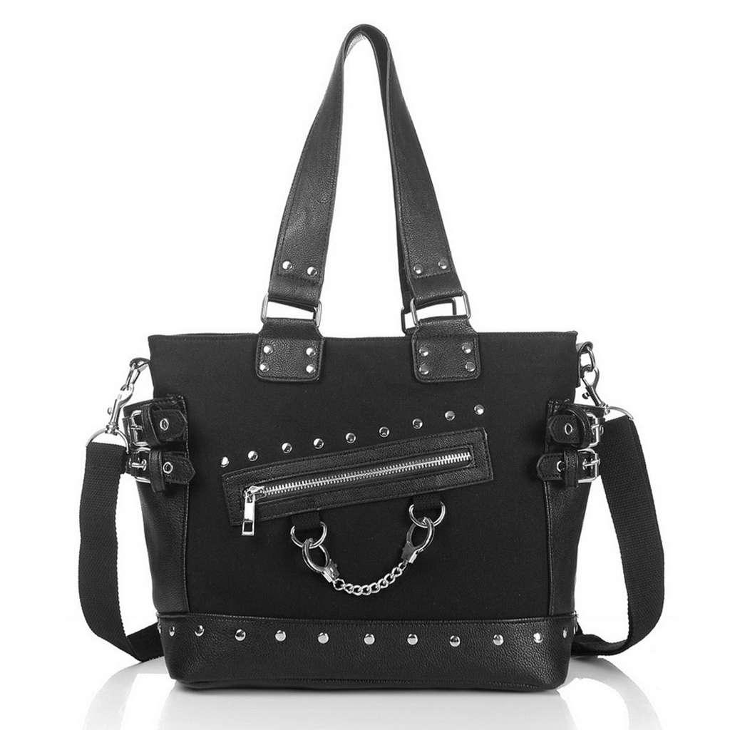 Rock Style Rivet Handbag Fashion Women Punk Casual Tote Zipper  Chain Female Motorcycle Shoulder Crossbody BagShoulder Bags   -