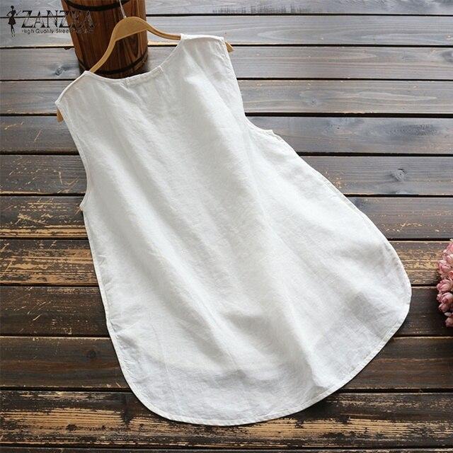 2019 ZANZEA été réservoirs Top femmes Vintage sans manches Chemise tunique décontracté coton haut pour Femme en lin Femme solide Camis Mujer Femme Chemise