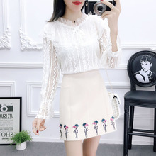 2019 spring new lace blouse shirt & embroidery flower skirts two-piece outfit women vestido sweet fashion girl clothes S M L XL flower lace panel blouse