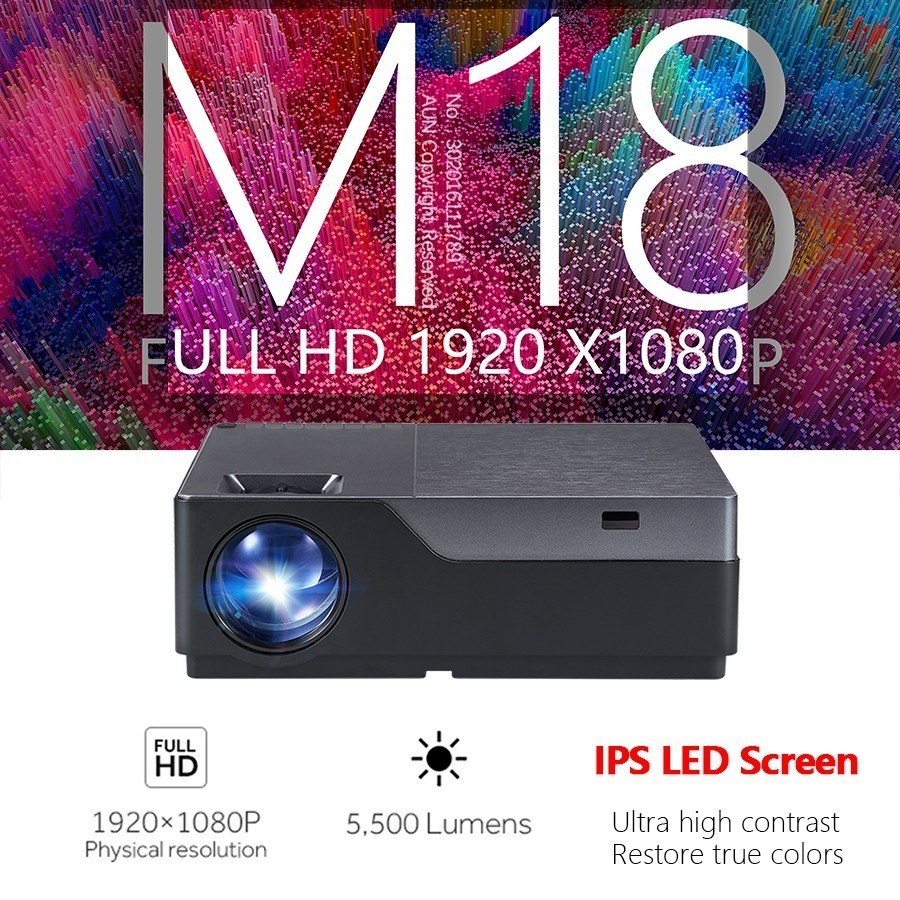 aun full hd mini projector m18up with 1920x1080p resolution  android 6.0 wifi and led