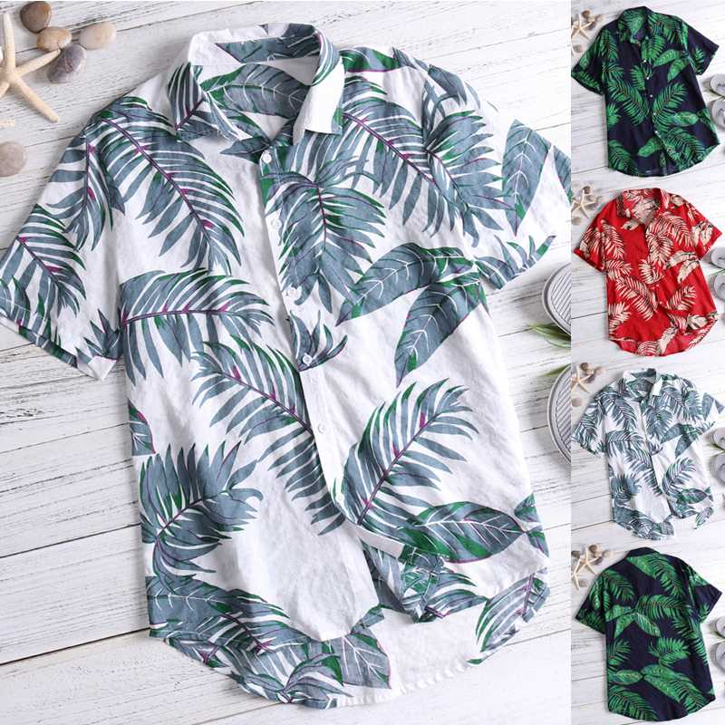 Brand Tropical Shirts Casual Shirt Ethnic 2019 Hawaiian Red Shirts Men Tops Loose Cotton Short Sleeve Fashion Clothes Camisa