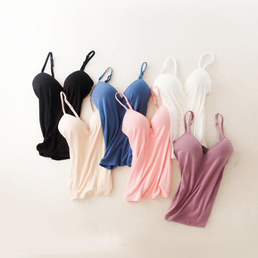 Women's Sexy Solid Color Sleeveless Camisole   Tank     Top   With Padded Bra Wire Free Adjustable Spaghetti Strap V-Neck Slim   Tops   Vest